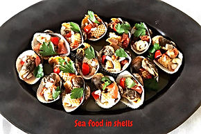 Food presentations, seafood , clams