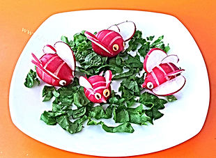 Kids food decorations / vegetable garnish for kids, fun food for kids, radish for kids