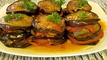 Puff Eggplant with vegetables