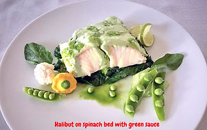 Food decorating  / Fish, spinach, green souce