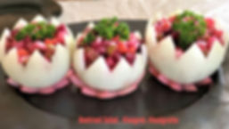 Beetroot Salad in onion bowls. Vinegret. Vinaigrette