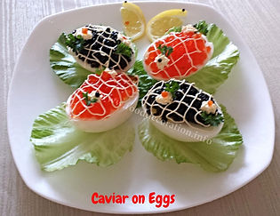 Caviar on Eggs. Appetizer.