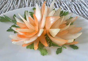 onion flower, garnish, vegetable decoration, food decorating, food presentation, restaurant, banquet, цветы из лука, цветы из овощей, vegan food, food