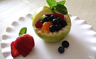 Dessert. Apple Basket with fruits.
