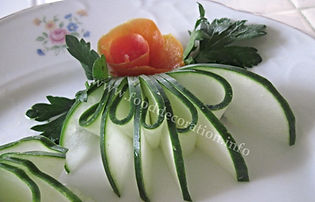 Garnish from  cucumber / vegetable decorating