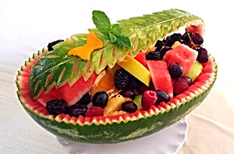 Watermelon Basket with Fruits. Dessert.