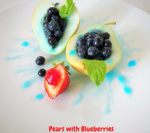 Dessert. Pears with Blueberries.