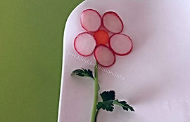 Food decoration from radish / vegetable garnish