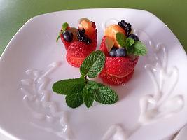 Strawberries baskets. Dessert.