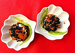 Black and Red caviar presentation
