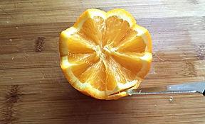 Fruit decorating / fruit garnishing with orange