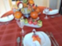 Pumpkin and autumn theme table