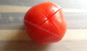 food decorating with tomato / vegetable garnishing