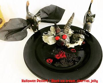 Halloween Dessert, Black ice cream, jelly, dessert presentations, food decoration halloween