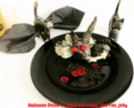 Halloween Dessert, Black ice cream, jelly, dessert presentations, food decoration halloween