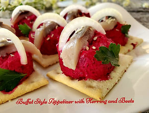 Buffet style Appetizer with herring and beets