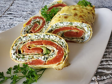 Omelete Roll with Salmon. Food Presentation.