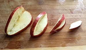 Step by step fruit garnishing with apple
