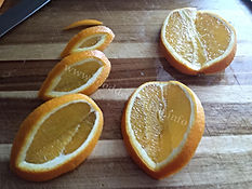 Fruit  garnishing / food decorating with orange