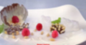 Chocolate, pine nuts, fruits presentation