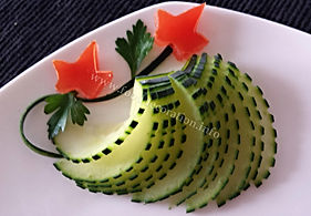 Food decoration / Vegetable garnish /Cucumber