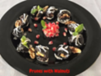 Fruit dessert, dessert presentation, pruns and nuts presenting, restaurant, food presentation