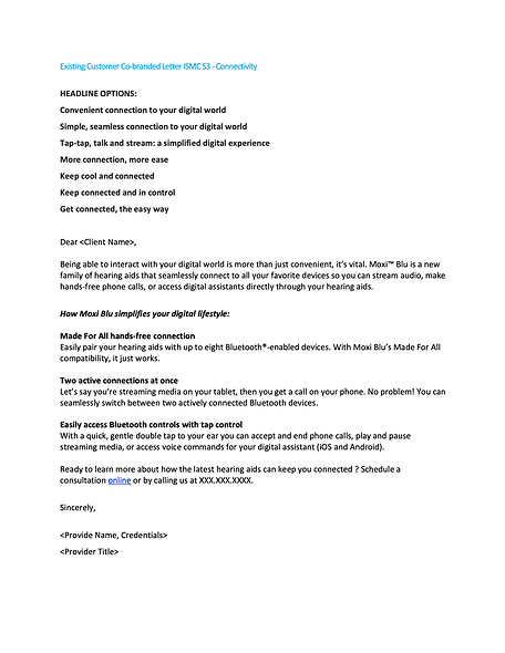 Existing Customer Co-branded Letter ISMC S3 - Connectivity