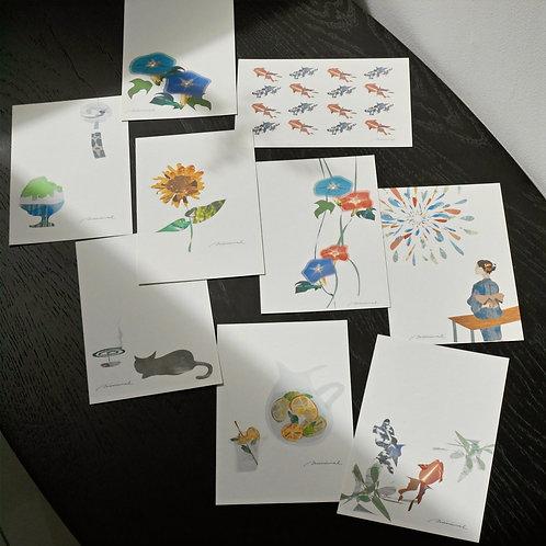 minimal summer greeting ポストカード