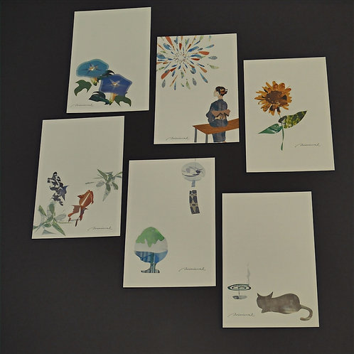 minimal summer greeting ポストカード6枚セット