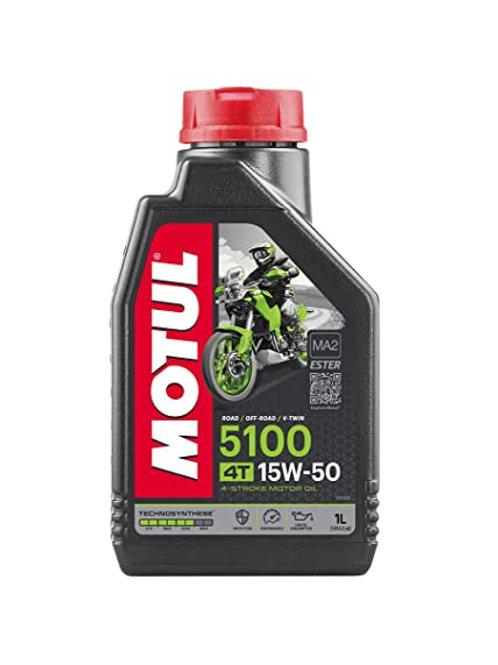 Motul 104080 5100 4T Hybrid 15W-50 Technosynthese Semi Synthetic Engine Oil