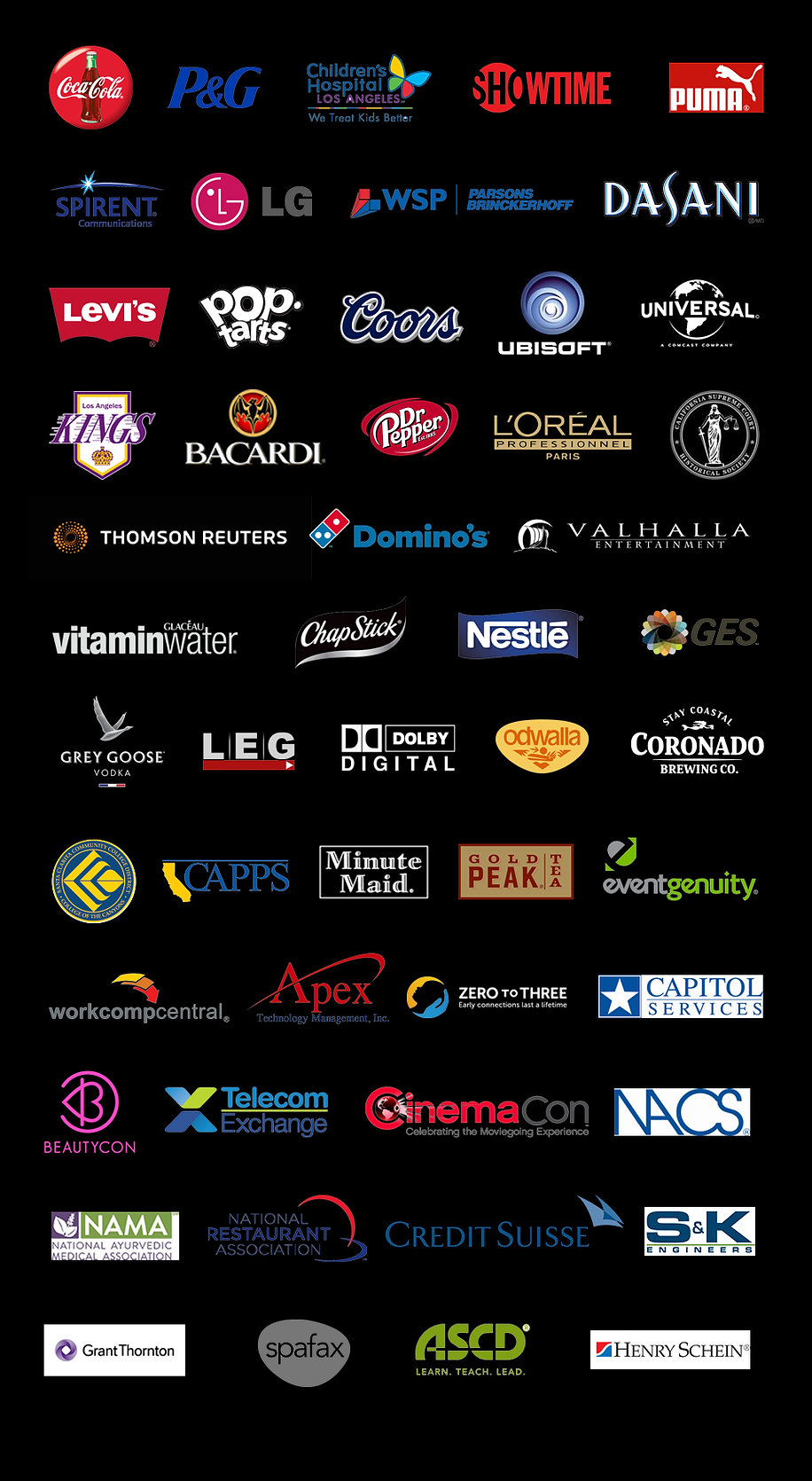 Corporate Clients of GV Photography, Los Angeles, CA