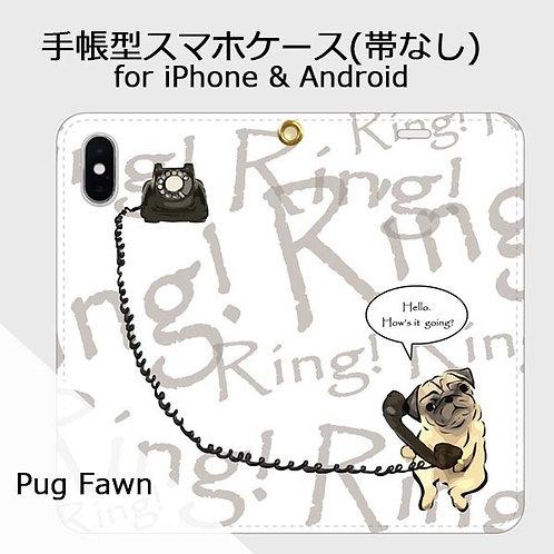 手帳型スマホケース パグ フォーン (黒電話)