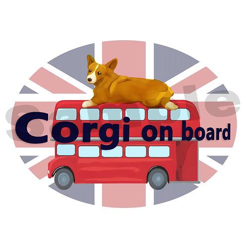 カーステッカー コーギー ロンドンバス