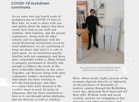 COVID-19 Lockdown Continues - Update from Hope School