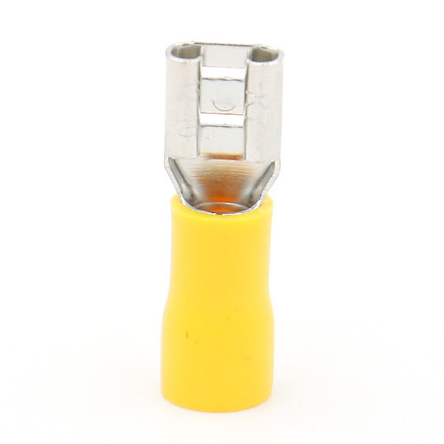 fast disconnects Spade Wire Connettore elettrico Crimp Terminal Yellow 100 Pack