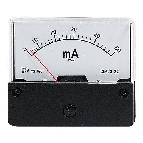 Heschen Ampèremètre YS-670 AC 0-50mA Rectangle Classe 2.5