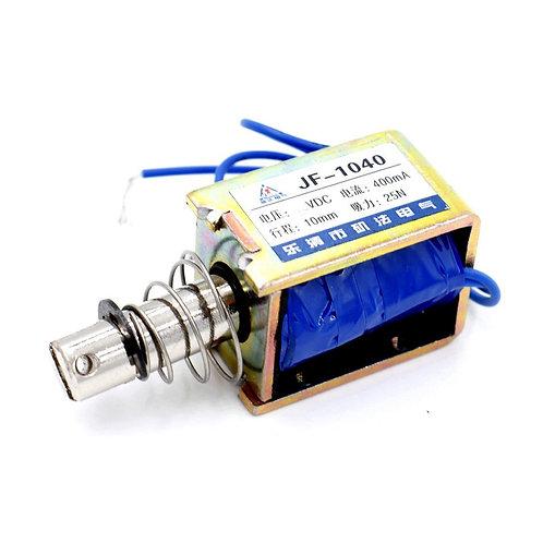Solenoide Electromagnet JF-1040 DC 12V 400mA 25N / 10mm Push Type Plunger Return