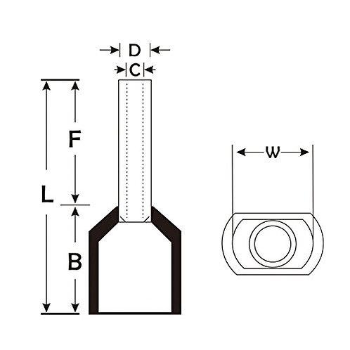 Heschen Wire Cuivre Crimp Double Embout Pin Ferrule Extrémité Terminal Rouge 100