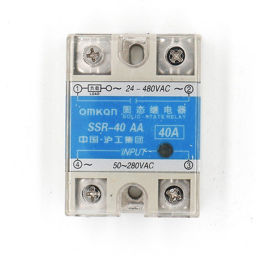 Baomain SSR-40AA 40A AC to AC Covered Solid State Module Relay 50-280V AC 24-480