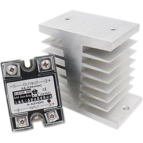 Relè a stato solido DC Relè SSR-100DD 100A 3-32VDC / 24-220VDC + Dissipatore di