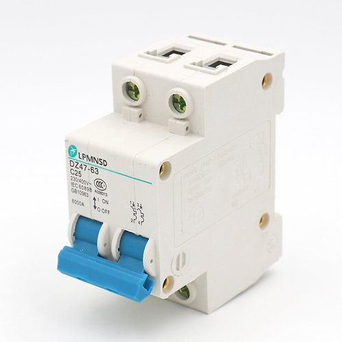 Heschen C25 25A 230 / 400VAC 6000A Unterbrecherkapazität 2 Pole Leistungsschalte