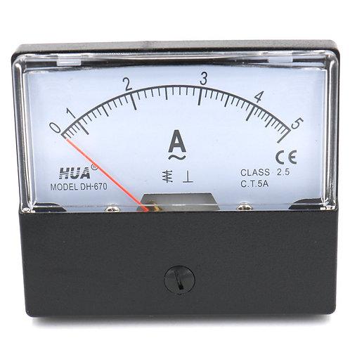 DH-670 AC 0-5A Amperemeter medidor de medidor de panel de aguja rectangular Ampe