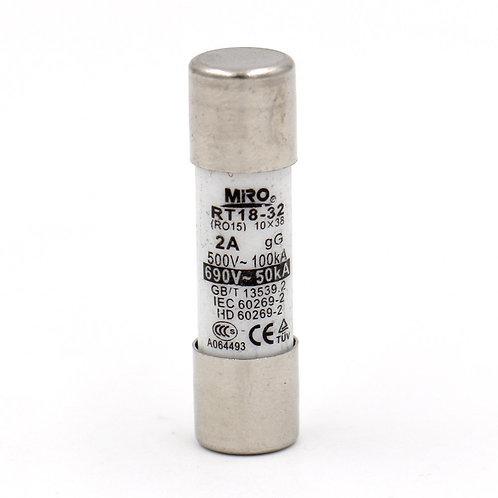 Tube fusible cylindrique en céramique RT14 RT18 R015 10mm x 38mm AC 500V 2A 20 p