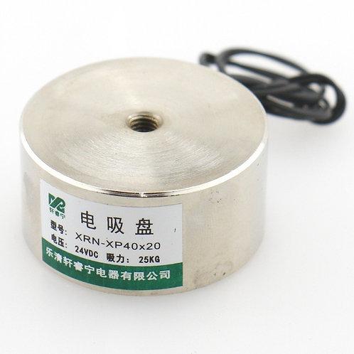 Baomain Electromagnet Solenoid P 40X20 55LB / 25kg Force Lifting Magnet 24V DC