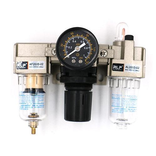 "Baomain Pneumatic Air Filter Regulator AC2000-02 1/4"" PT Lubricator w Guage"