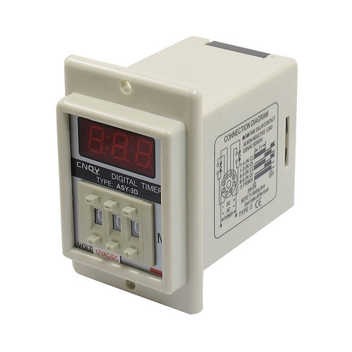Baomain ASY-3D AC/DC 12V 8 Pin 1-999 Second Digital Timer Time Delay Relay Beige