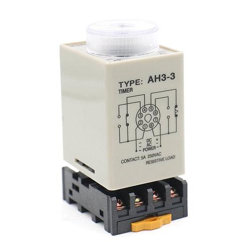 Relé de temporizador de retardo AH3-3 DC 24V 0-10 Minute DPDT 8 pines con zócalo