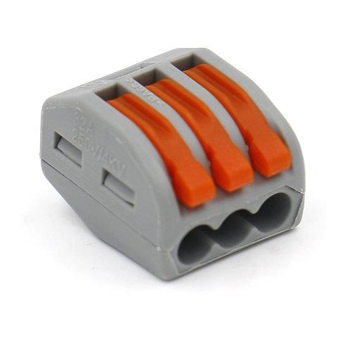 Baomain Connectors PCT-213 3-Port Lever Cage Clamp Terminal Block 10 Pack