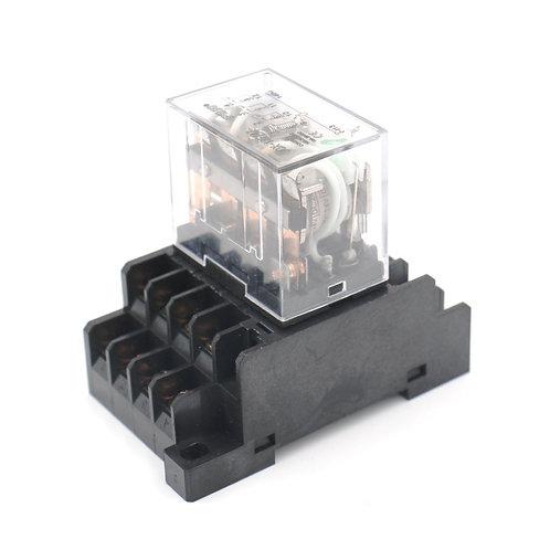 JQX-13F / 4Z DC 24V bobina LED indicador terminal de 14 pines con carril DIN PTF