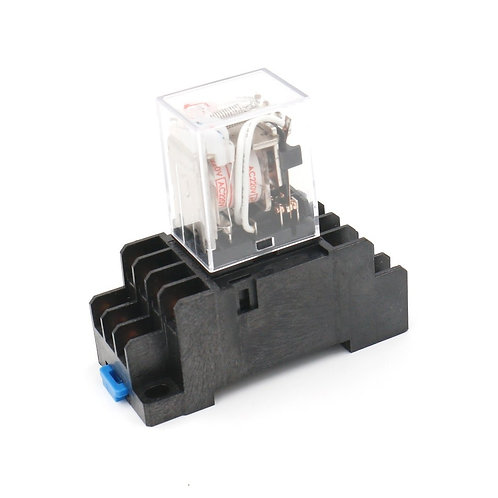 HH54P AC 220V Bobina LED Indicador 14 pin terminal w DIN Rail PYF14A Socket Base